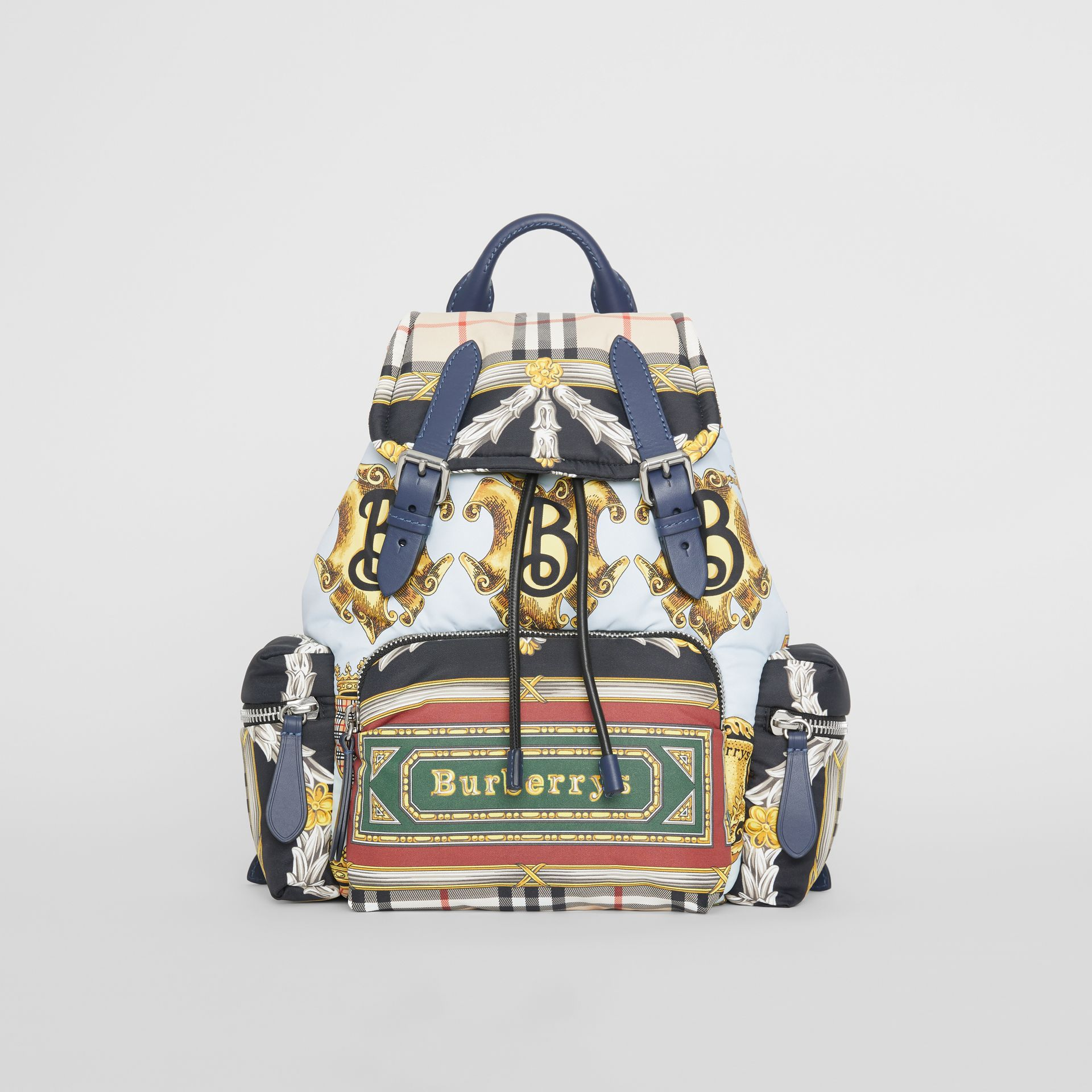 The Medium Rucksack in Archive Scarf Print in Ink Blue - Women | Burberry - gallery image 0