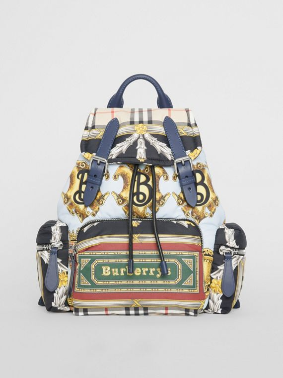 The Medium Rucksack in Archive Scarf Print in Ink Blue