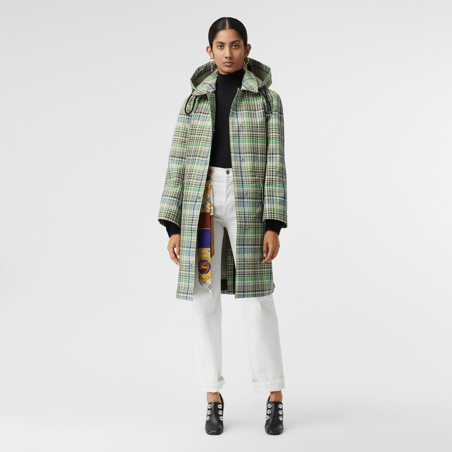Detachable Hood Check Bonded Cotton Car Coat in Tourmaline Green - Women | Burberry United Kingdom - gallery image 0