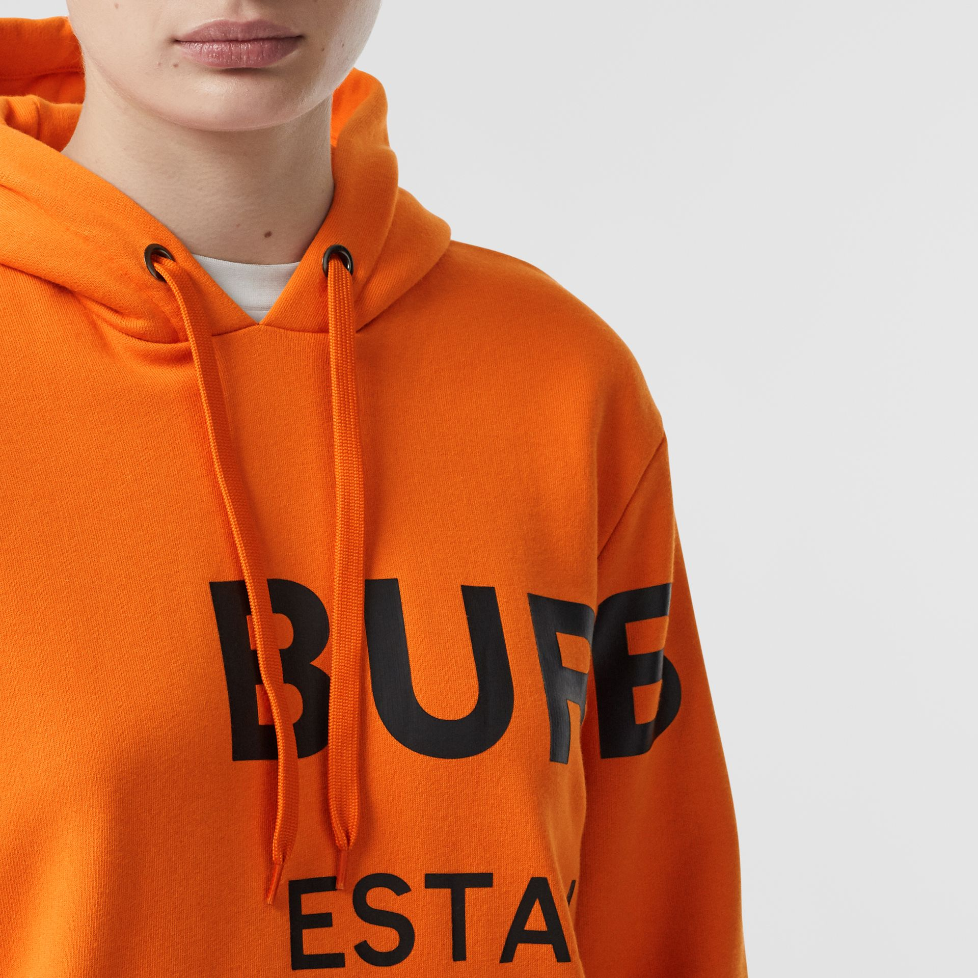 Horseferry Print Cotton Oversized Hoodie in Bright Orange - Women | Burberry - gallery image 1