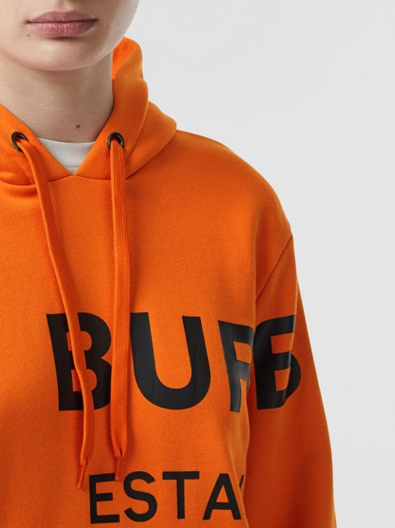 Horseferry Print Cotton Oversized Hoodie in Bright Orange - Women | Burberry - cell image 1