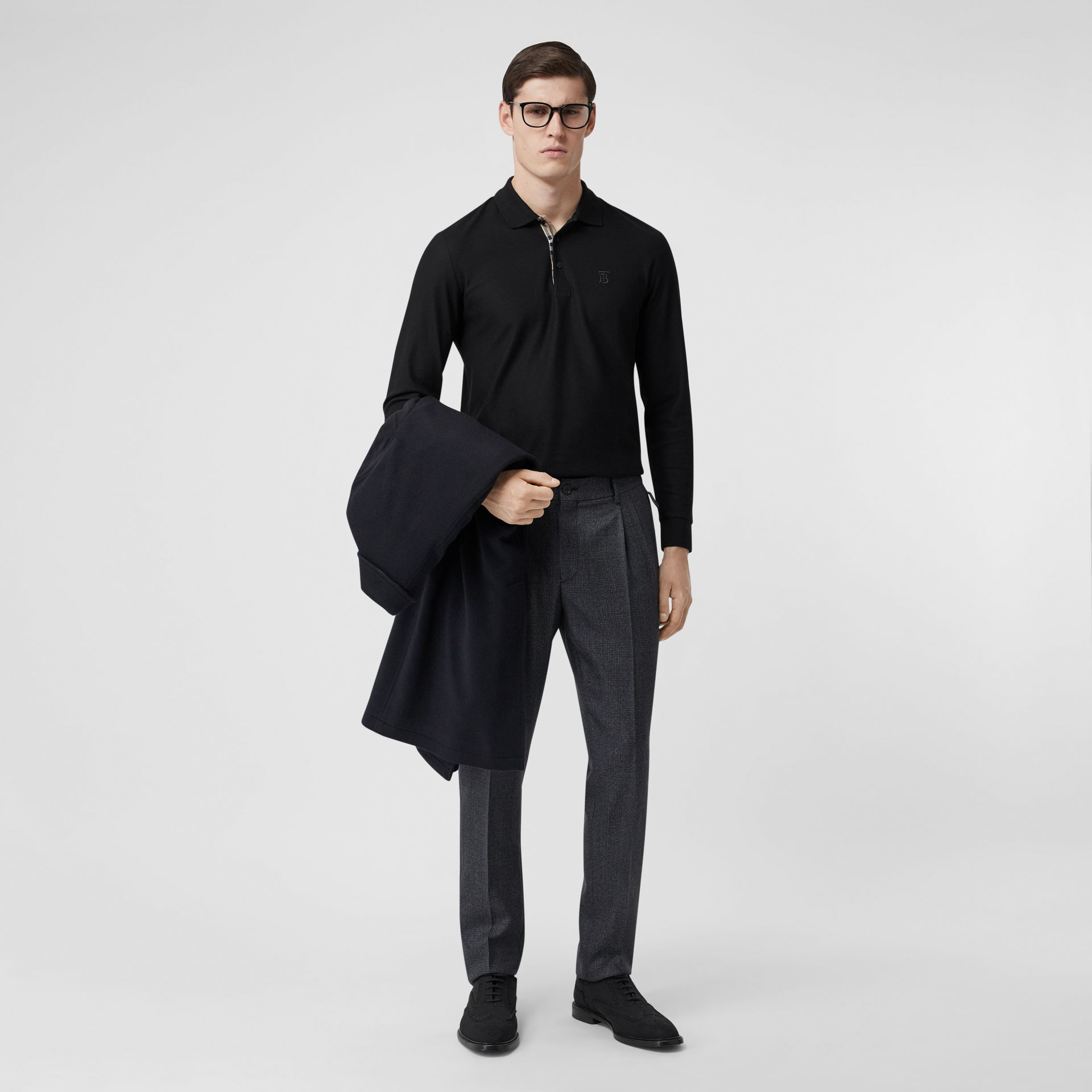 Long-sleeve Monogram Motif Cotton Piqué Polo Shirt in Black - Men | Burberry - gallery image 0
