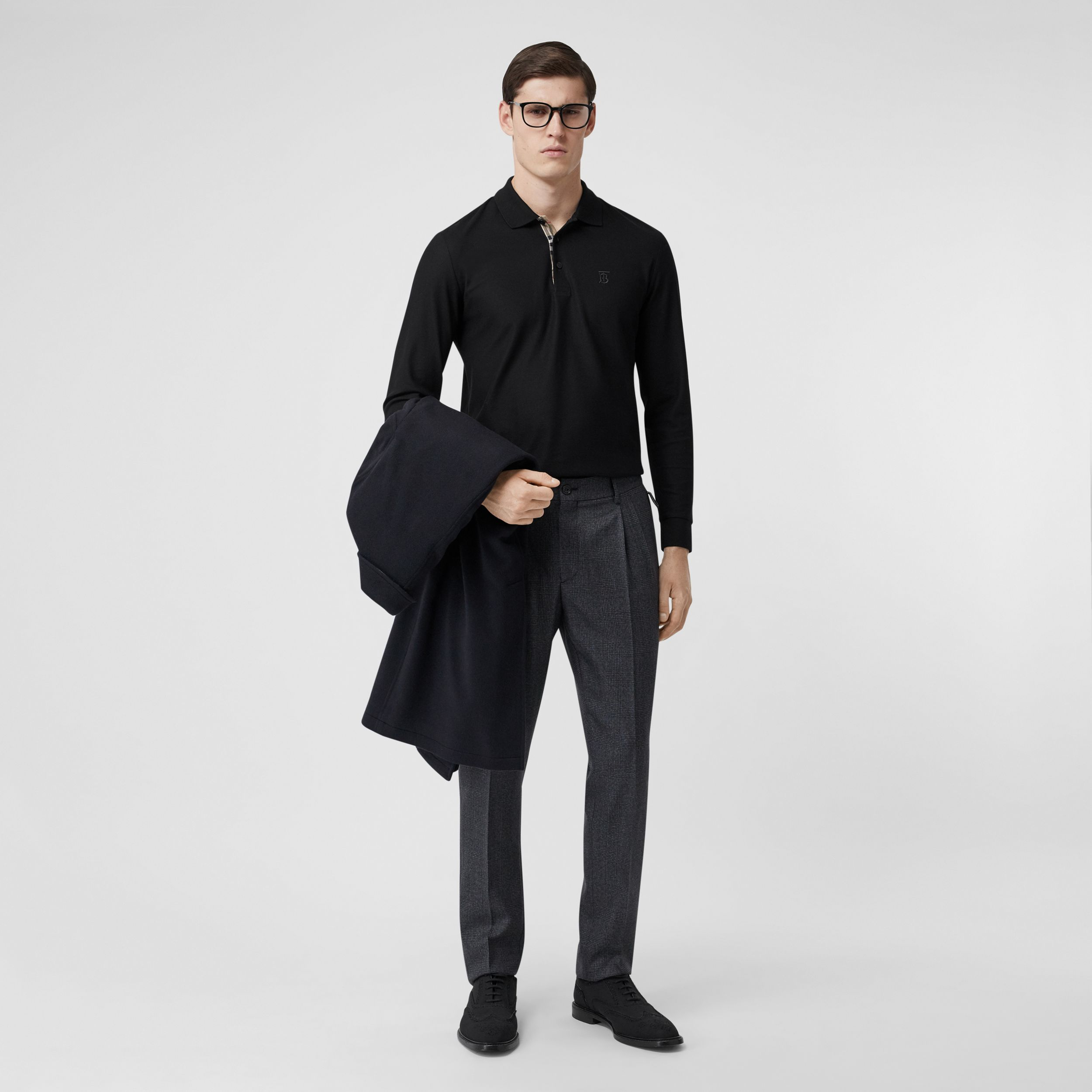Long-sleeve Monogram Motif Cotton Piqué Polo Shirt in Black - Men | Burberry - 1
