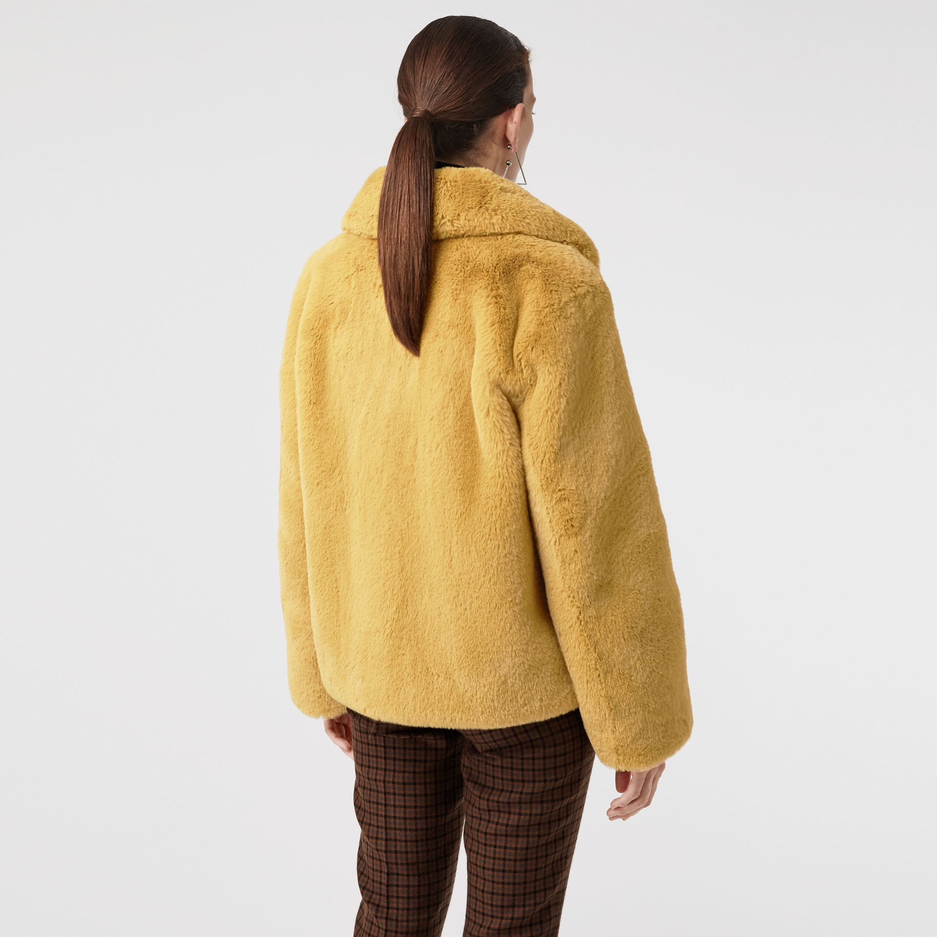 Faux Fur Single-Breasted Jacket in Ochre Yellow - Women | Burberry Australia - gallery image 2
