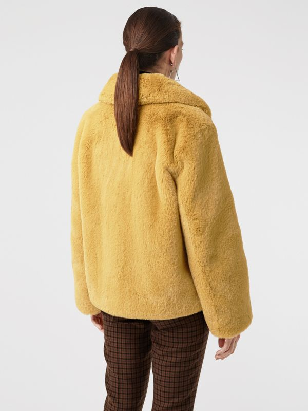 Faux Fur Single-Breasted Jacket in Ochre Yellow - Women | Burberry Australia - cell image 2