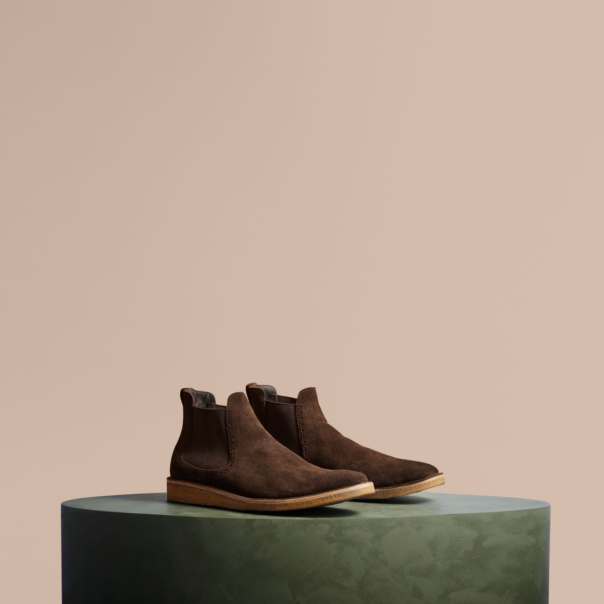 Peat brown Washed-suede Chelsea Boots with Crepe Soles - gallery image 1