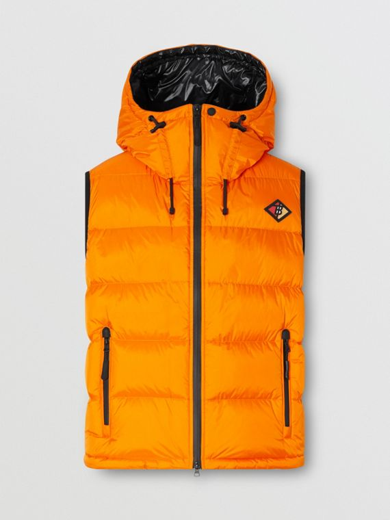 Logo Graphic Hooded Puffer Gilet in Bright Orange