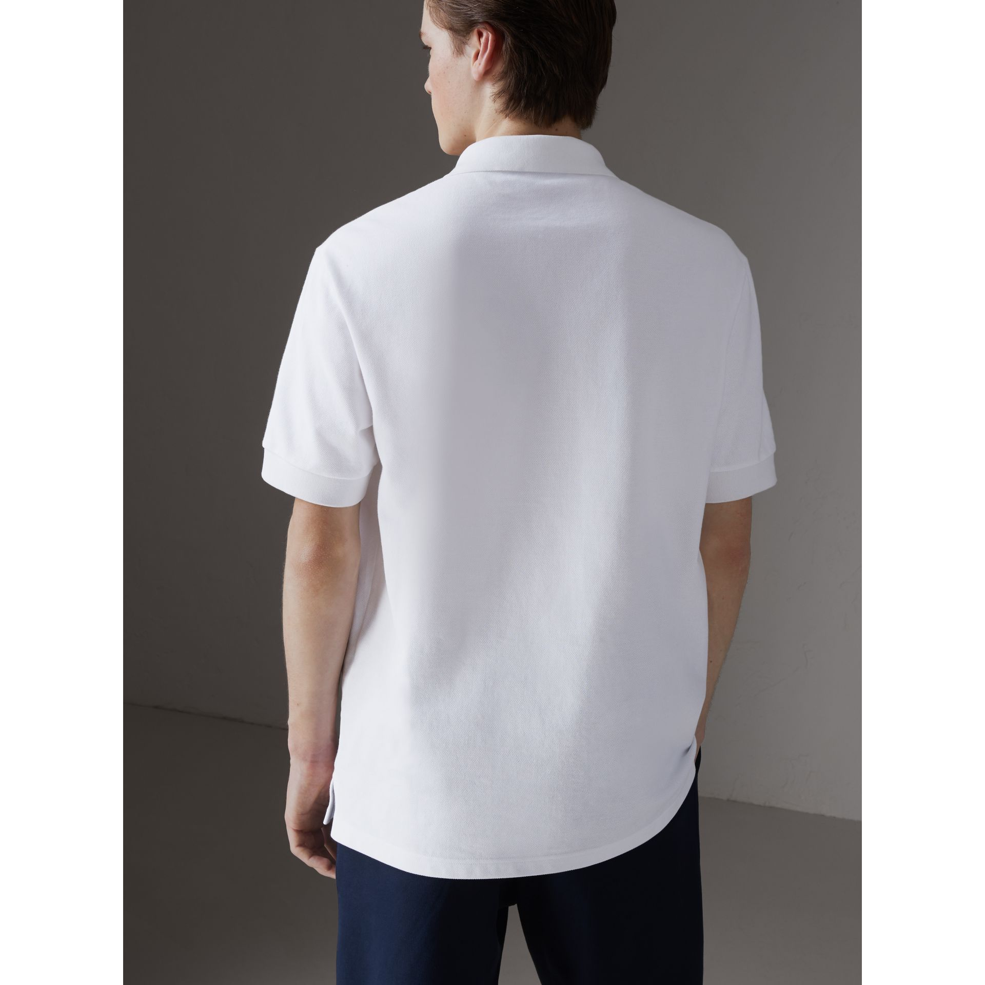 Reissued Cotton Polo Shirt in White - Men | Burberry Singapore - gallery image 2