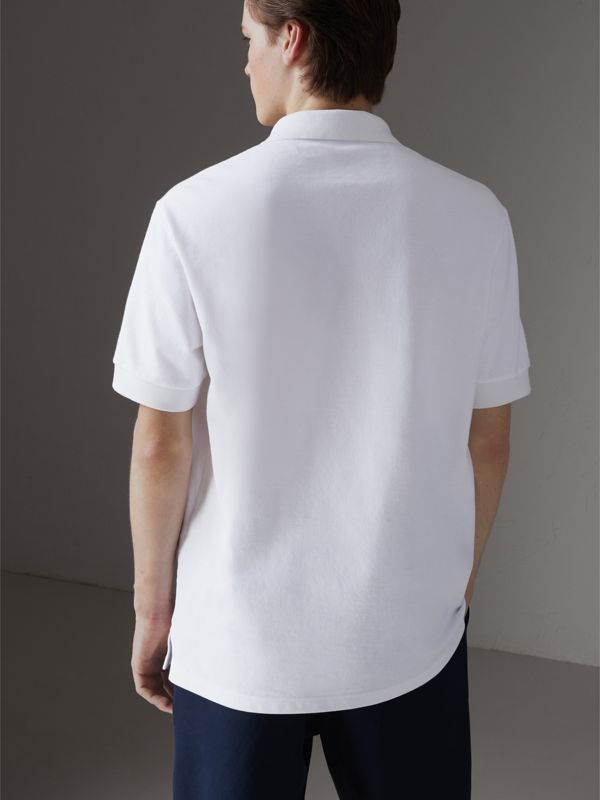 Reissued Cotton Polo Shirt in White - Men | Burberry Singapore - cell image 2