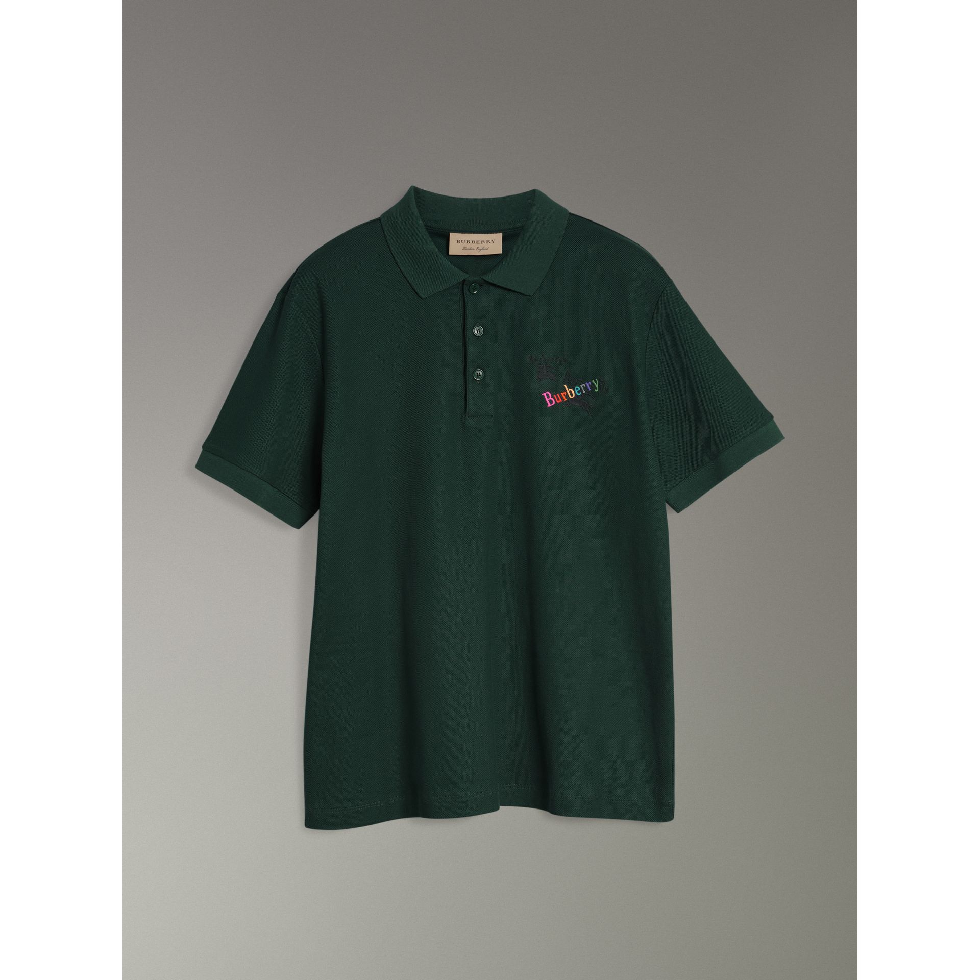 Triple Archive Logo Cotton Piqué Polo Shirt in Dark Forest Green - Men | Burberry Australia - gallery image 3