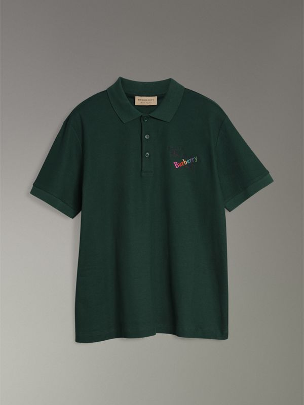 Triple Archive Logo Cotton Piqué Polo Shirt in Dark Forest Green - Men | Burberry Australia - cell image 3