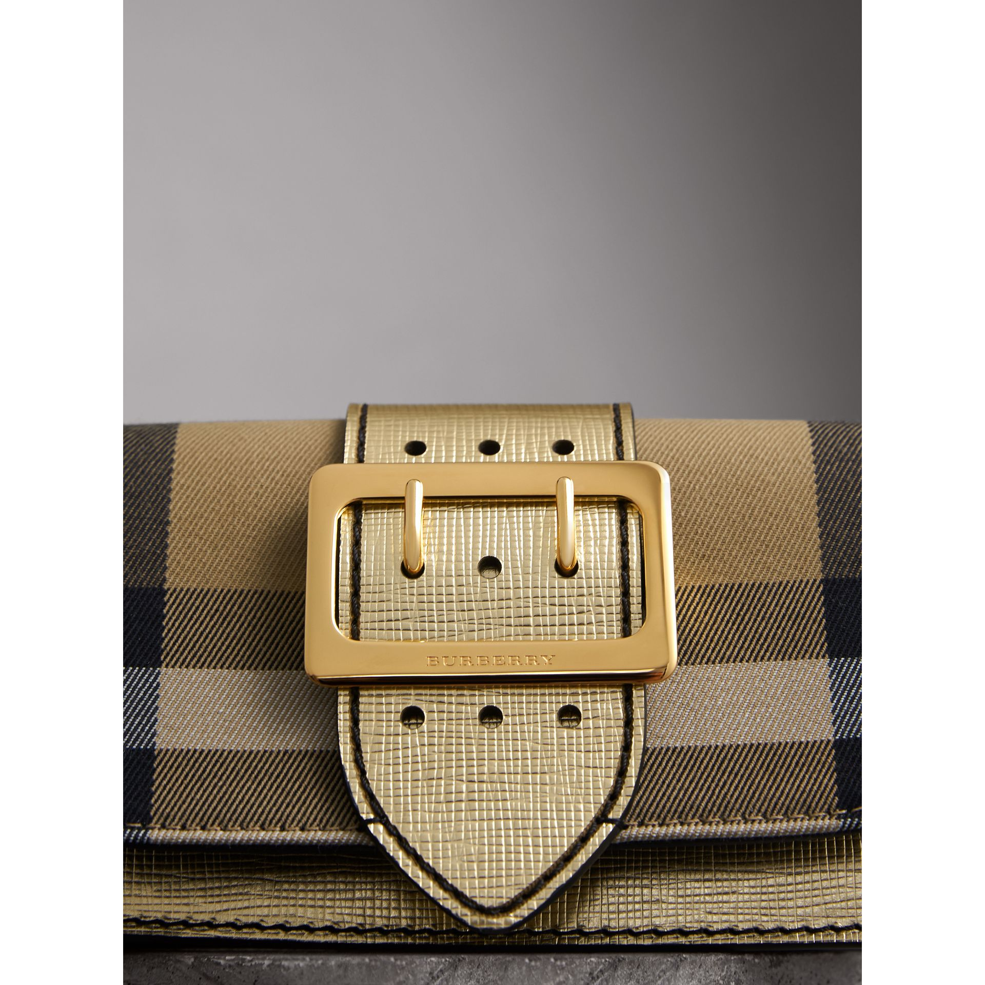 The Small Buckle Bag in House Check and Leather in Gold - Women | Burberry Canada - gallery image 1