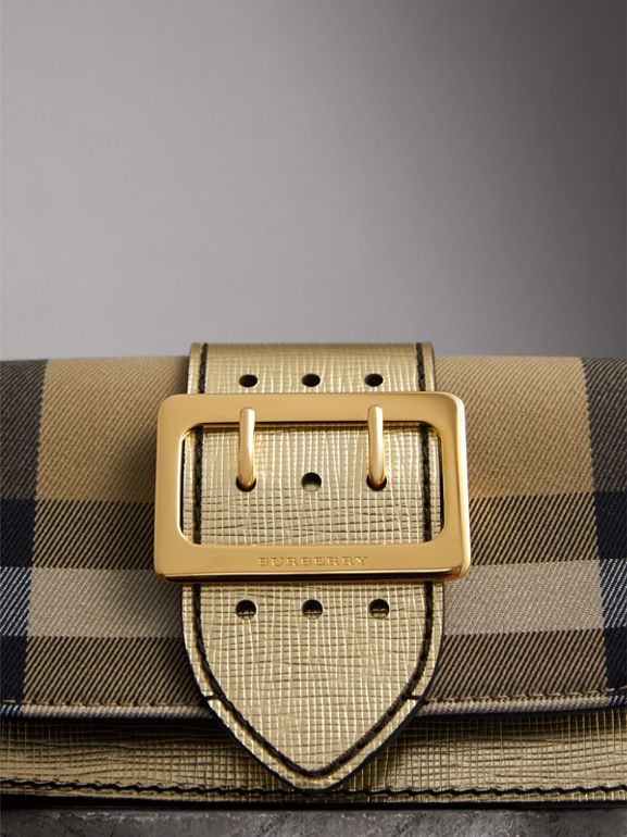 The Small Buckle Bag in House Check and Leather in Gold - Women | Burberry - cell image 1