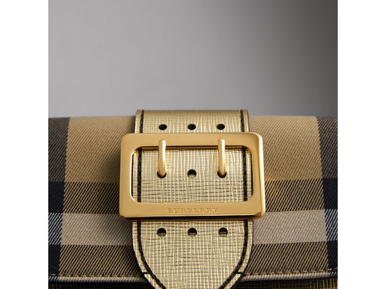 The Small Buckle Bag in House Check and Leather in Gold - Women | Burberry United Kingdom - cell image 1