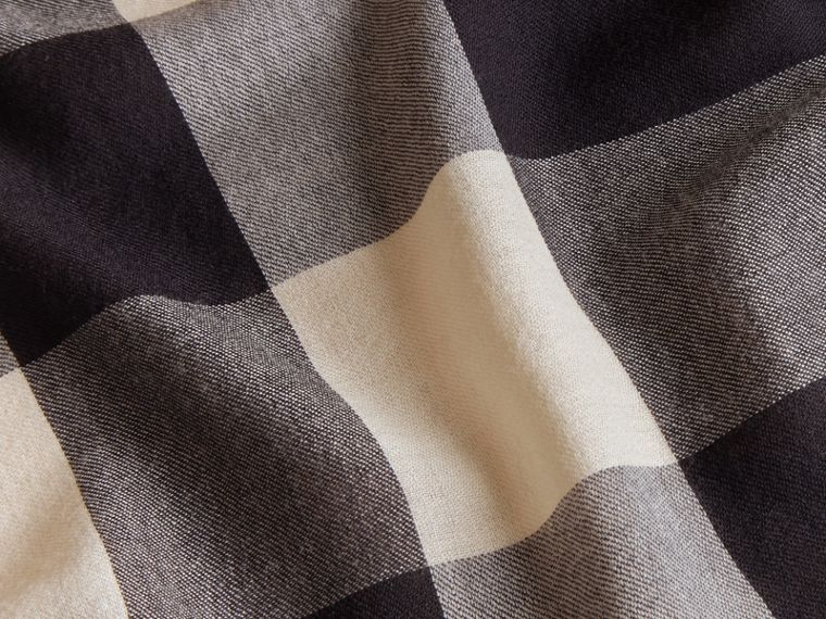 Raccoon Trim Check Wool Cashmere Scarf in Navy - Women | Burberry - cell image 1
