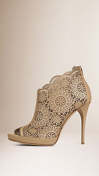 Laser-cut Lace Leather Peep-toe Ankle Boots Light Nude