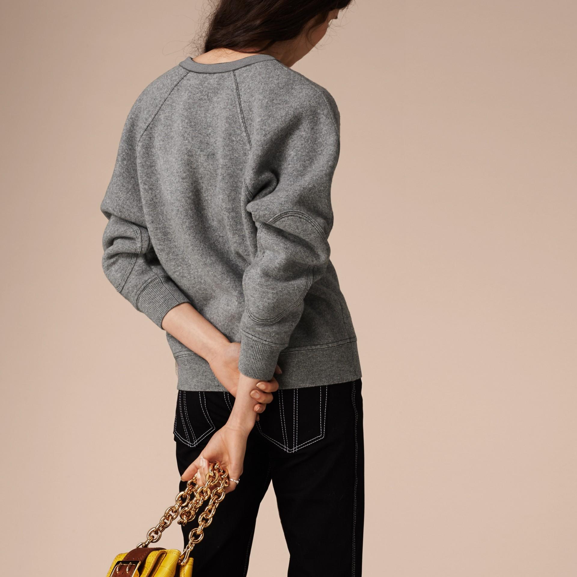 Grigio medio mélange/nero Pullover strutturato in lana e cashmere Grigio Medio Mélange/nero - immagine della galleria 4