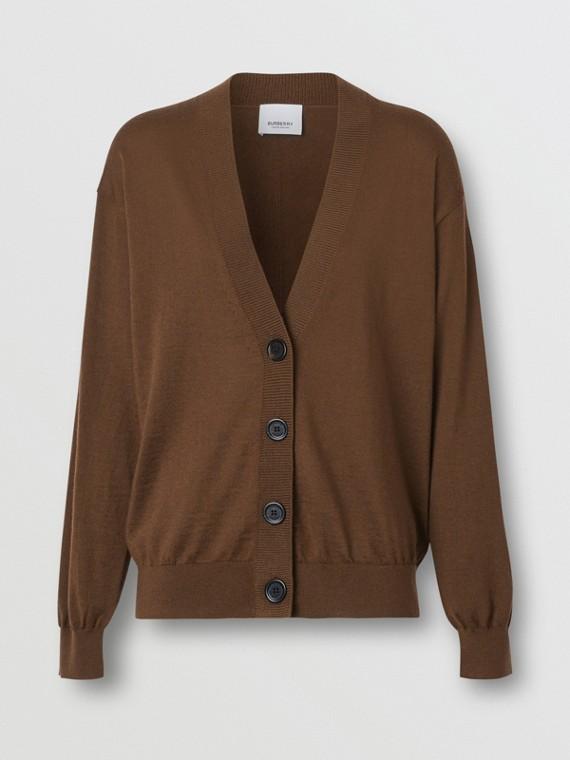 Vintage Check Detail Merino Wool Cardigan in Bridle Brown