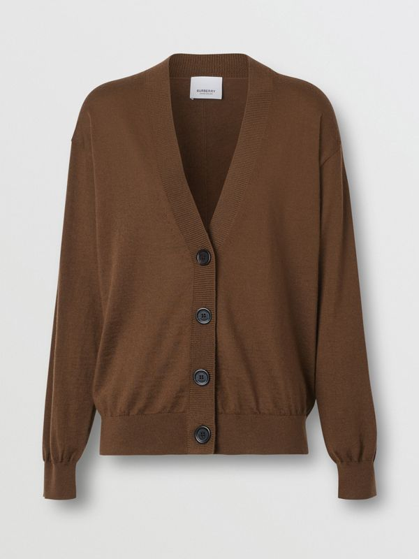Vintage Check Detail Merino Wool Cardigan in Bridle Brown - Women | Burberry Singapore - cell image 3