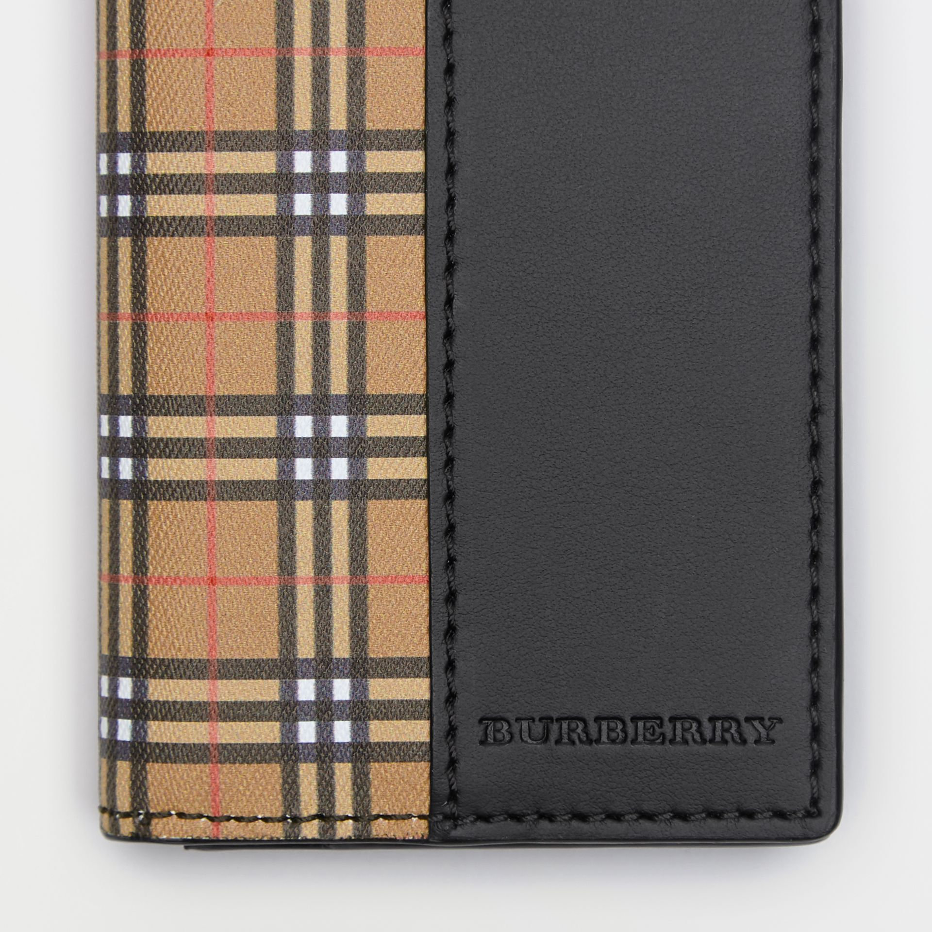 Small Scale Check and Leather Folding Card Case in Antique Yellow/black - Men | Burberry - gallery image 1