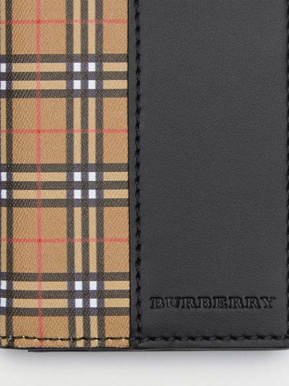 Small Scale Check and Leather Folding Card Case in Antique Yellow/black - Men | Burberry - cell image 1