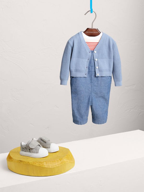 Multi-stitch Cotton Cardigan in Chalk Blue - Children | Burberry - cell image 2