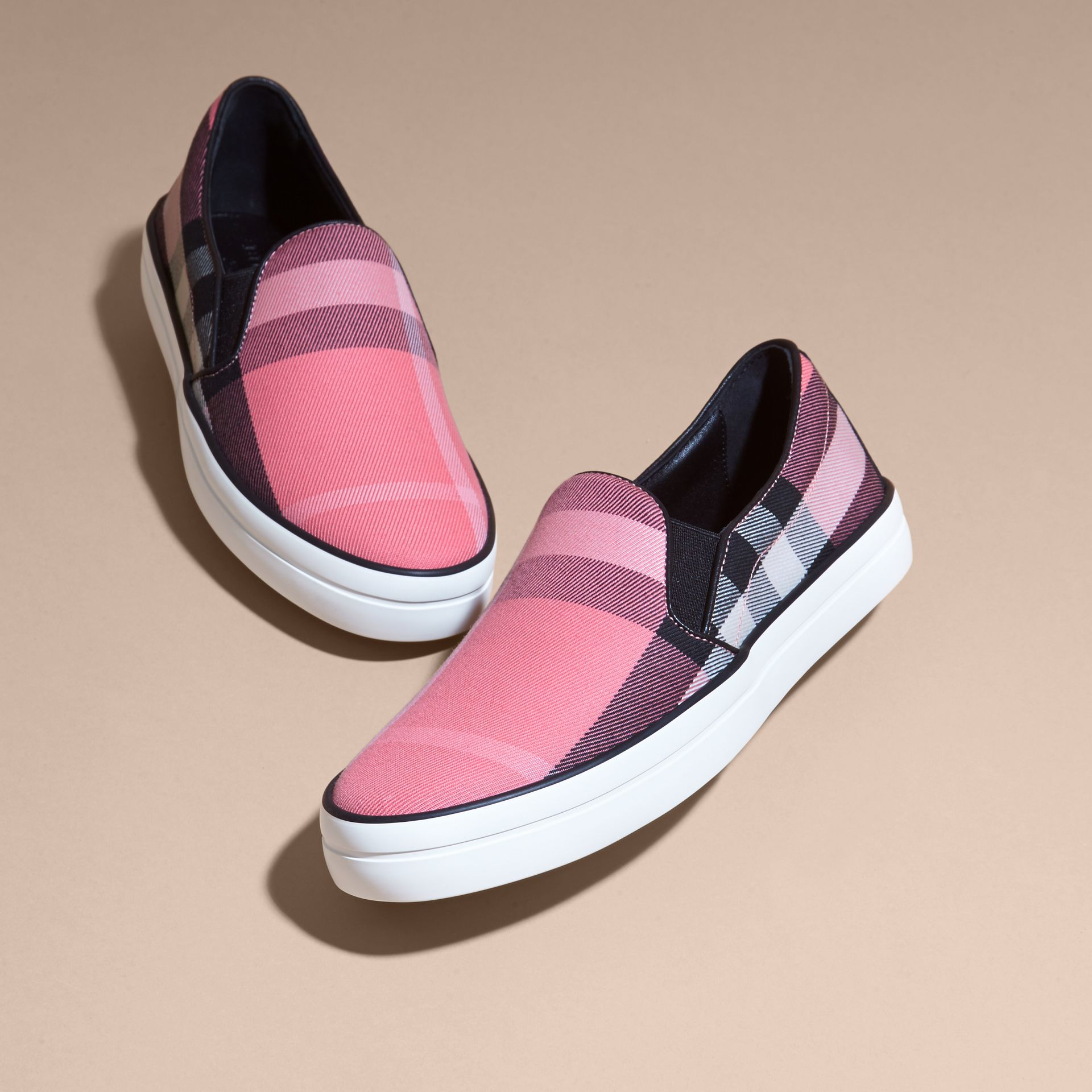 Overdyed House Check Cotton Slip-on Trainers Rose Pink - gallery image 3
