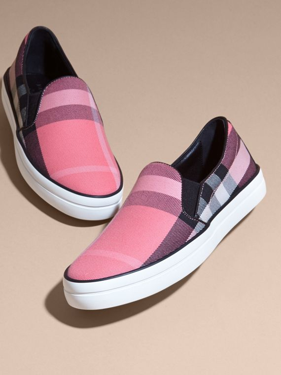 Overdyed House Check Cotton Slip-on Trainers Rose Pink - cell image 2