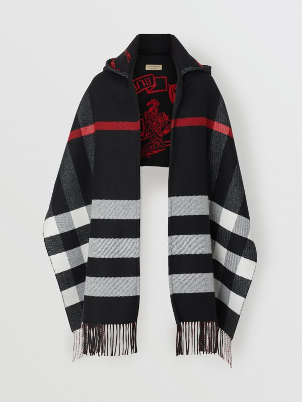 Check Wool Cashmere Hooded Scarf in Black - Women | Burberry United States - cell image 3