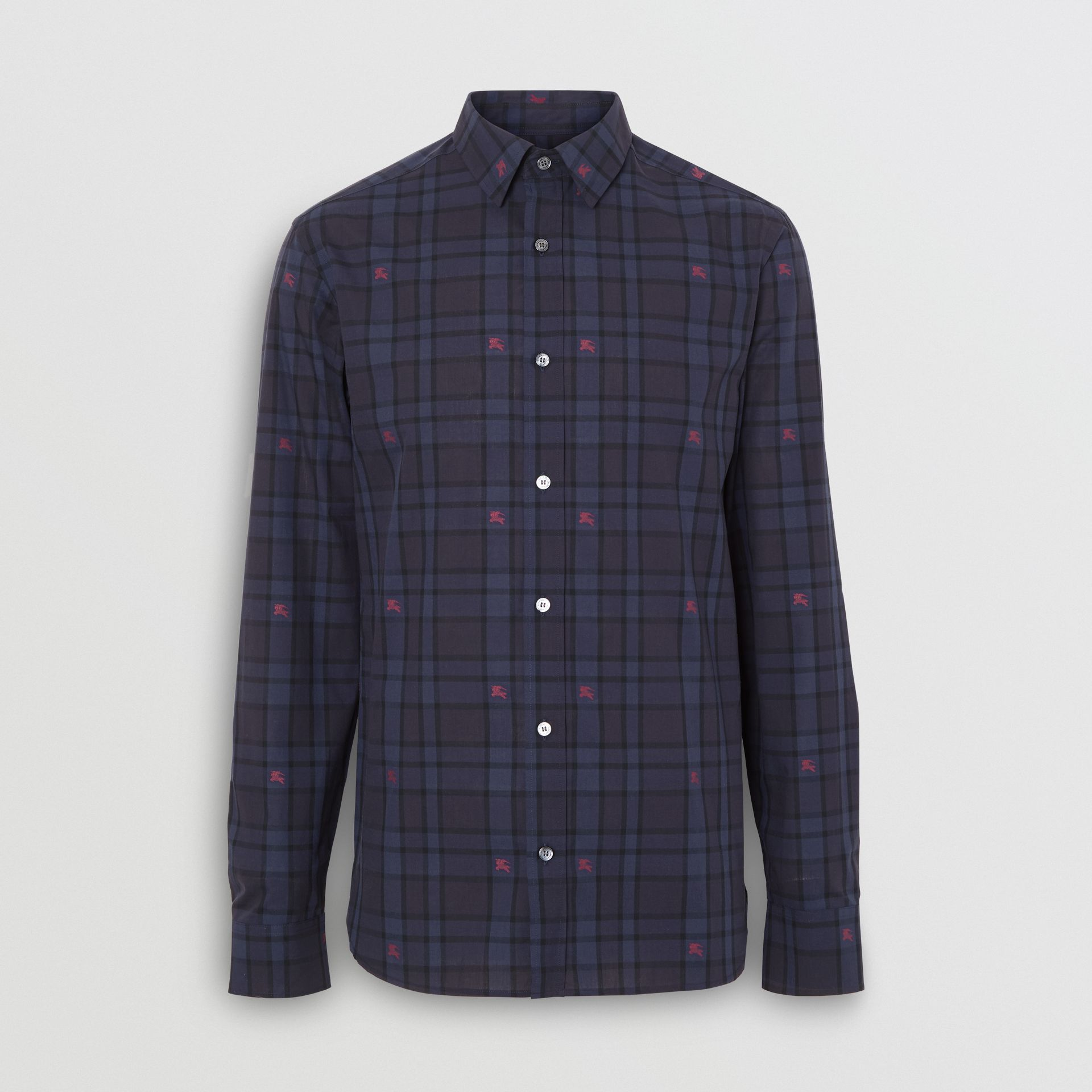 Equestrian Knight Check Cotton Shirt in Dark Indigo - Men | Burberry Canada - gallery image 3
