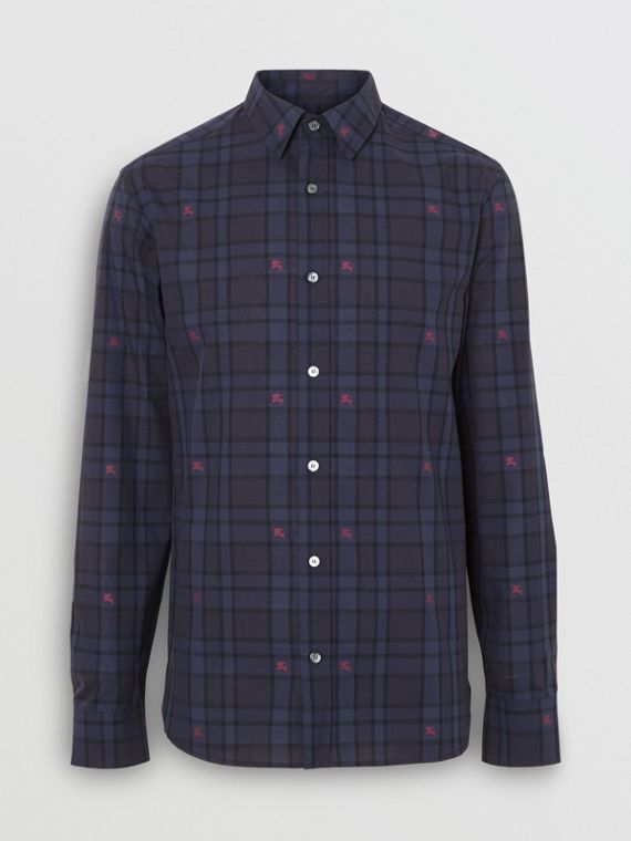 Equestrian Knight Check Cotton Shirt in Dark Indigo