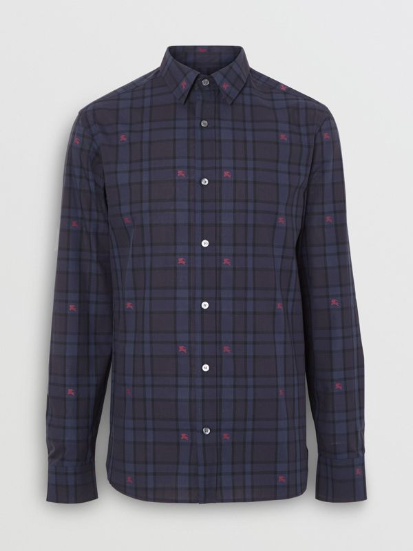 Equestrian Knight Check Cotton Shirt in Dark Indigo - Men | Burberry Australia - cell image 3