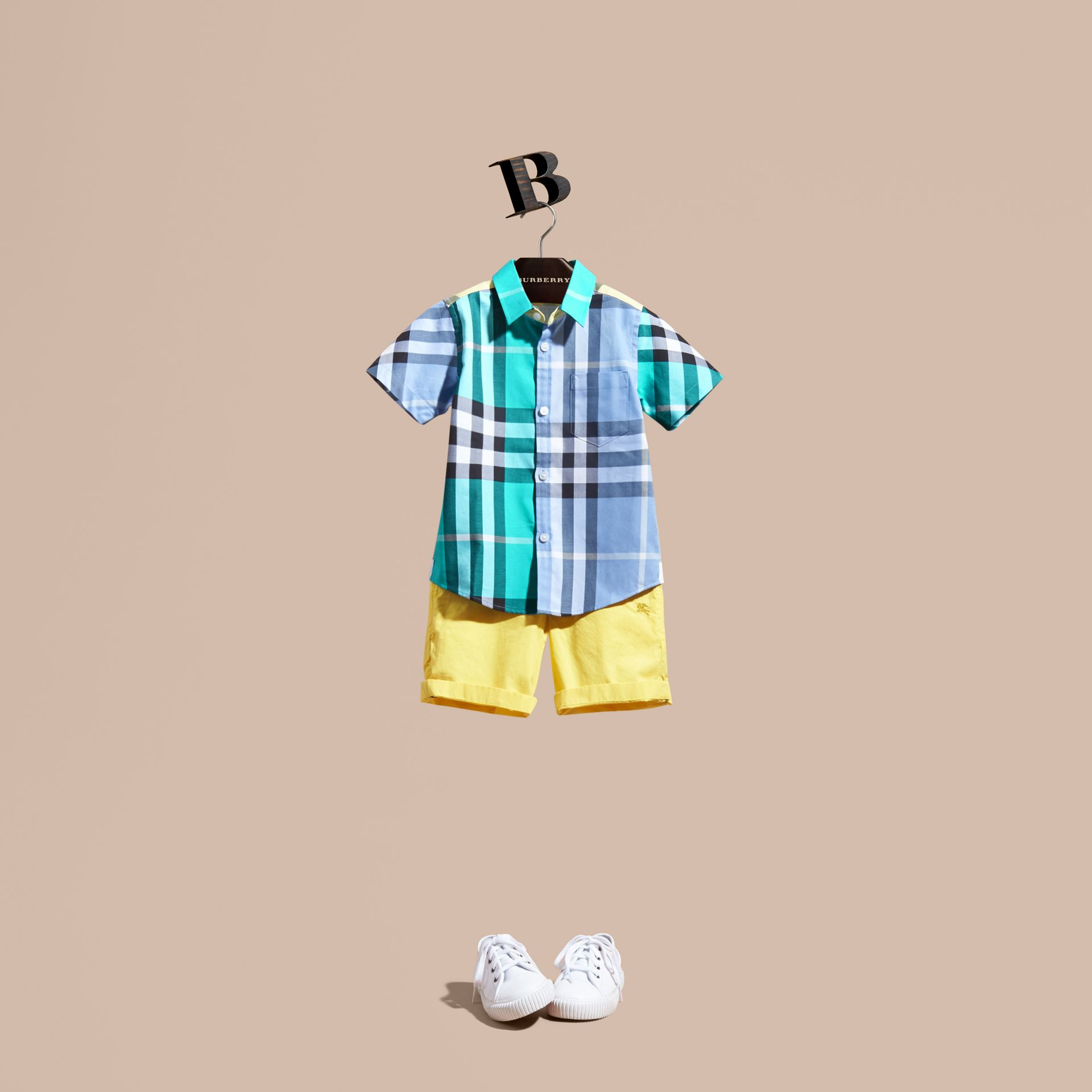 Short-sleeved Contrast Check Cotton Shirt in Cyan Green - Boy | Burberry - gallery image 1
