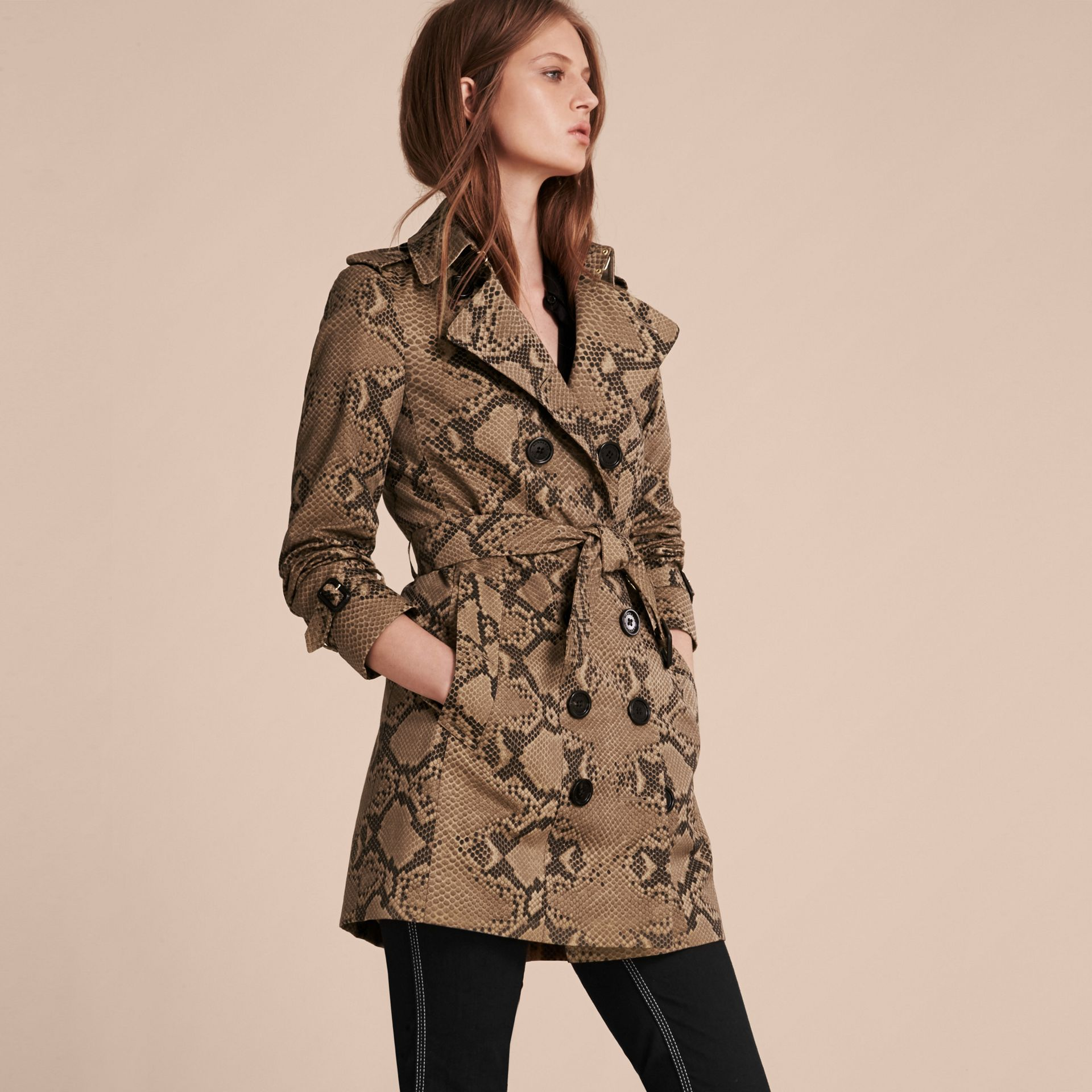 Honey/black Python Print Cotton Trench Coat - gallery image 7