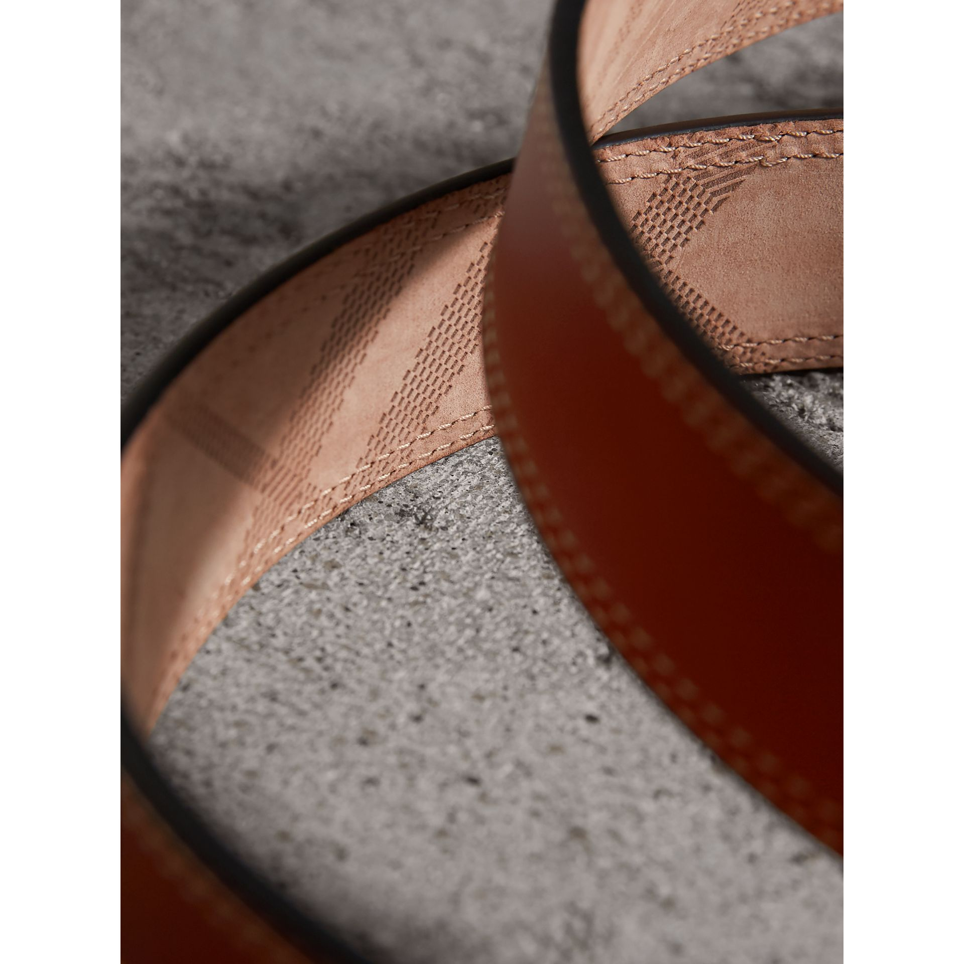 Topstitch Detail Leather Belt in Burnt Sienna - Women | Burberry Canada - gallery image 1