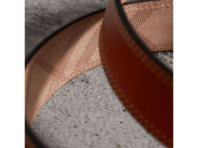 Topstitch Detail Leather Belt in Burnt Sienna - Women | Burberry - cell image 1