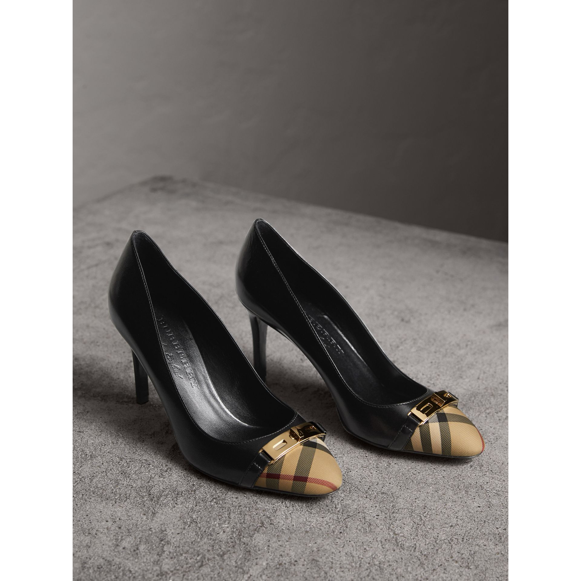Horseferry Check Leather Pumps in Black - Women | Burberry - gallery image 5