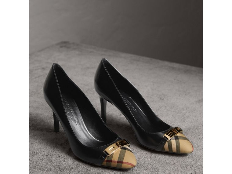 Horseferry Check Leather Pumps in Black - Women | Burberry Canada - cell image 4
