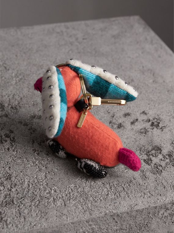 Gareth The Spaniel Knitted Charm in Coral Multicolour | Burberry - cell image 3