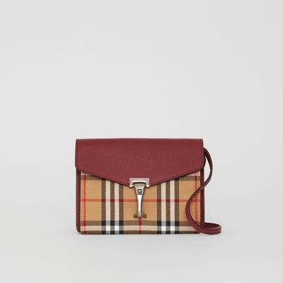 Mini Leather And Vintage Check Crossbody Bag by Burberry