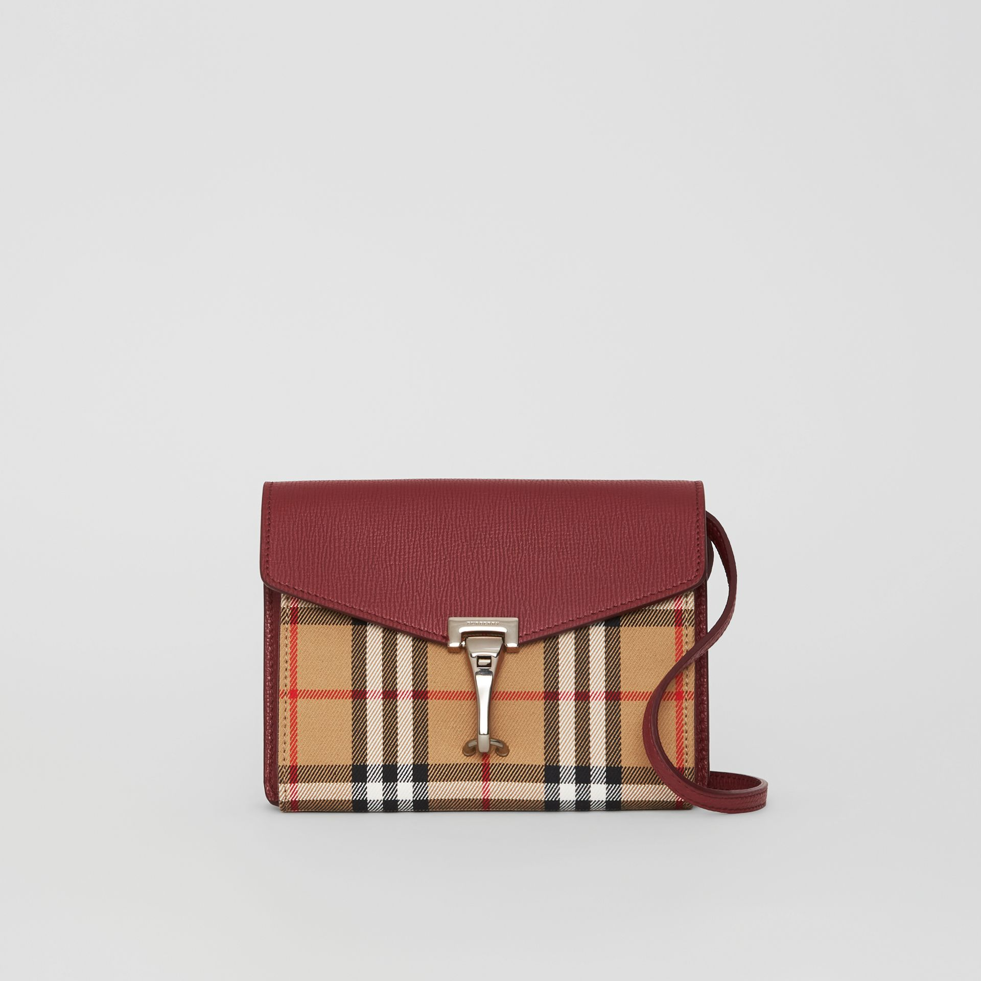 Mini Leather and Vintage Check Crossbody Bag in Crimson - Women | Burberry - gallery image 0