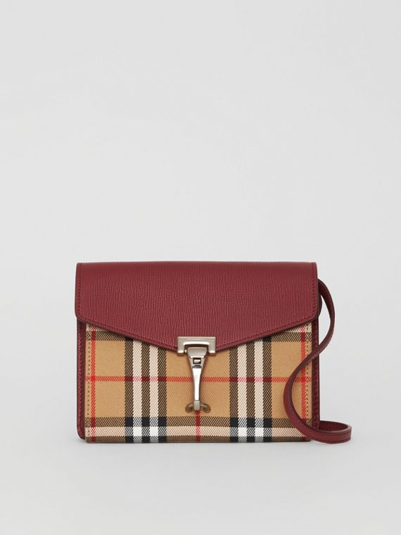 Mini Leather and Vintage Check Crossbody Bag in Crimson