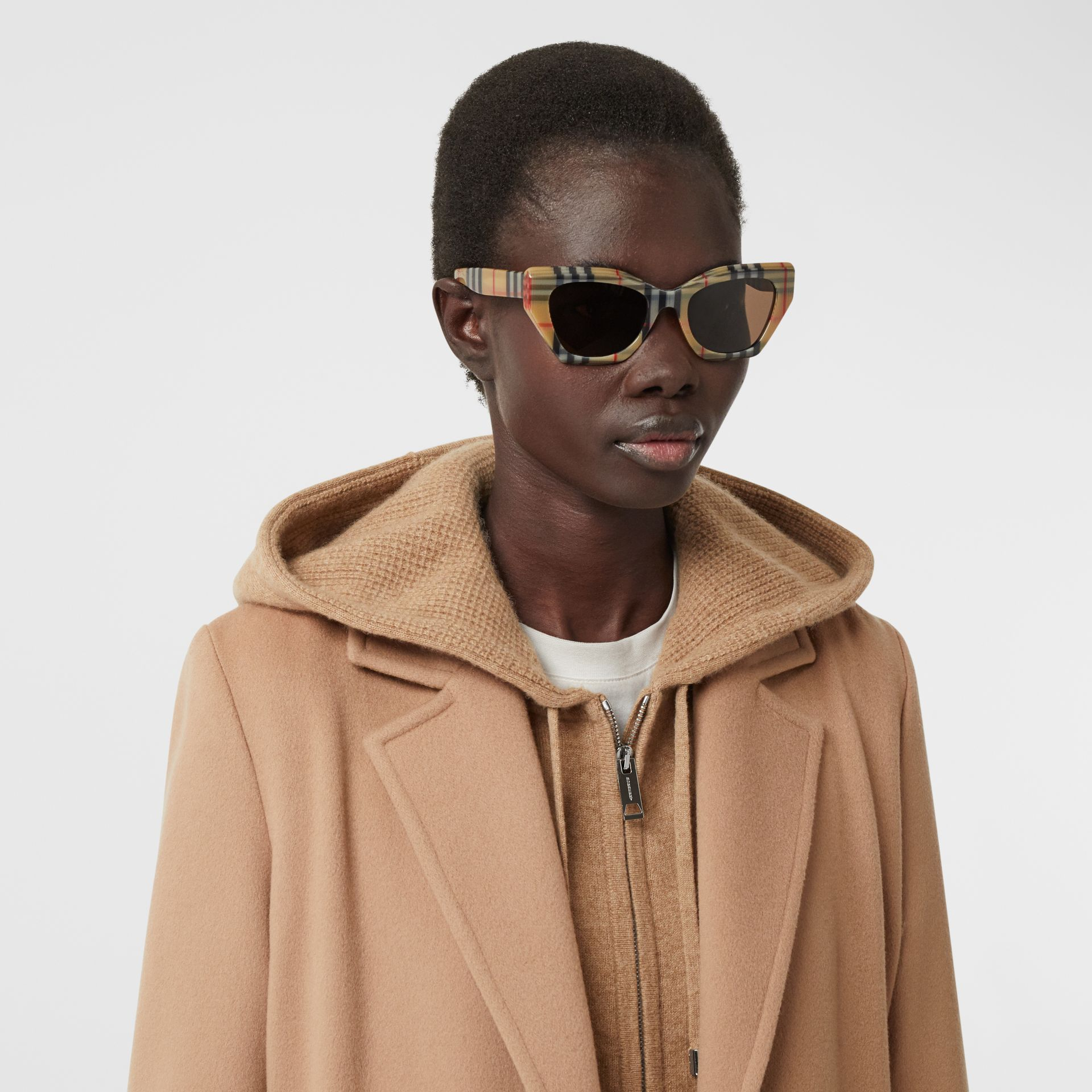 Vintage Check Butterfly Frame Sunglasses in Antique Yellow - Women | Burberry United Kingdom - gallery image 2
