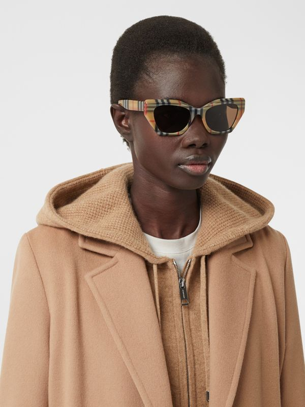 Vintage Check Butterfly Frame Sunglasses in Antique Yellow - Women | Burberry United Kingdom - cell image 2