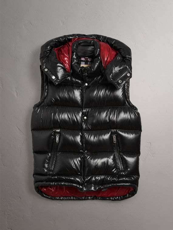 Detachable Hood Down-filled Gilet in Black - Men | Burberry Canada - cell image 3