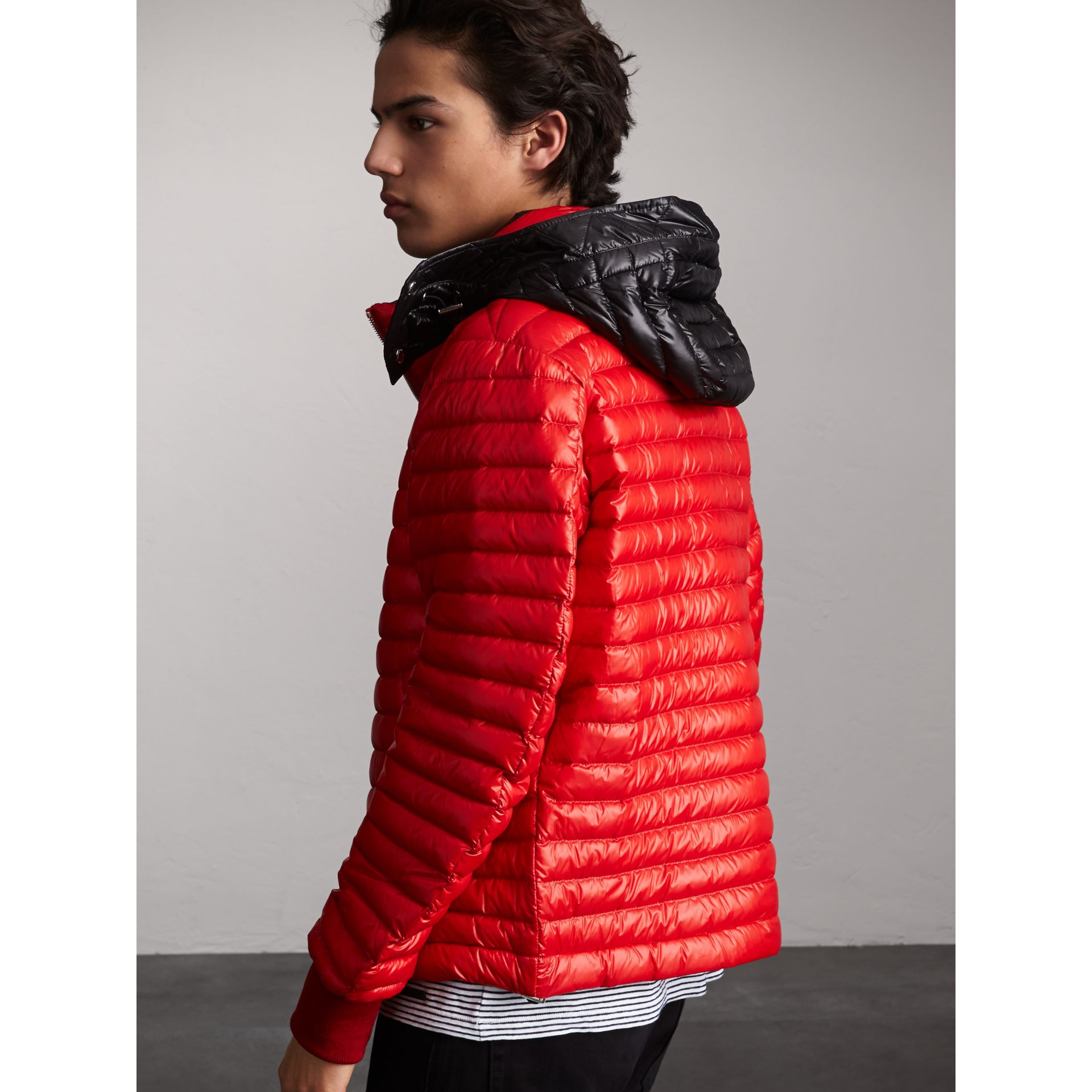 Packaway Hood Down-filled Puffer Jacket in Military Red - Men | Burberry Singapore - gallery image 2