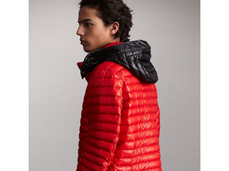 Packaway Hood Down-filled Puffer Jacket in Military Red - Men | Burberry Singapore - cell image 1