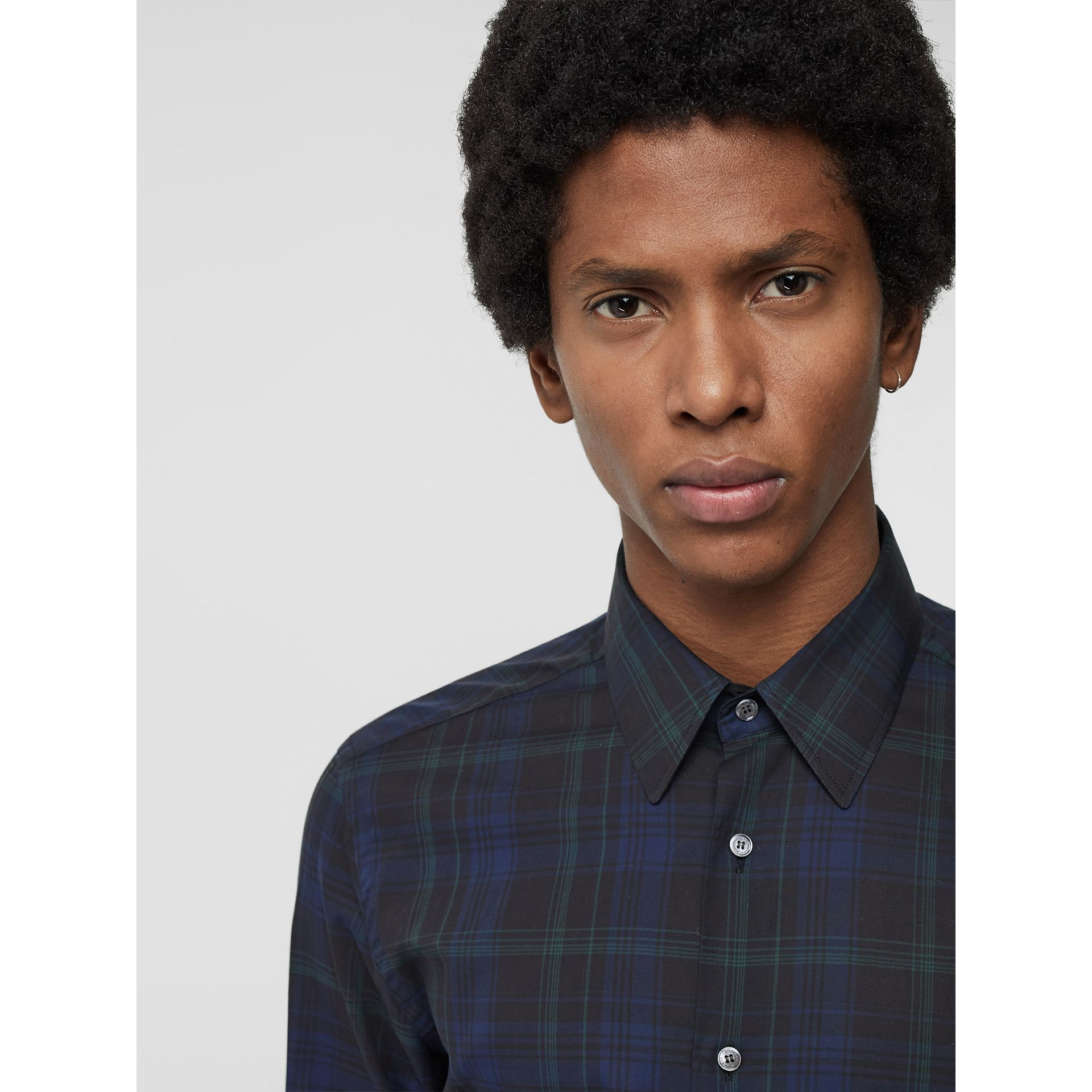 Slim Fit Tartan Cotton Shirt in Bright Navy - Men | Burberry - gallery image 1