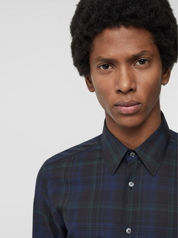 Slim Fit Tartan Cotton Shirt in Bright Navy - Men | Burberry - cell image 1