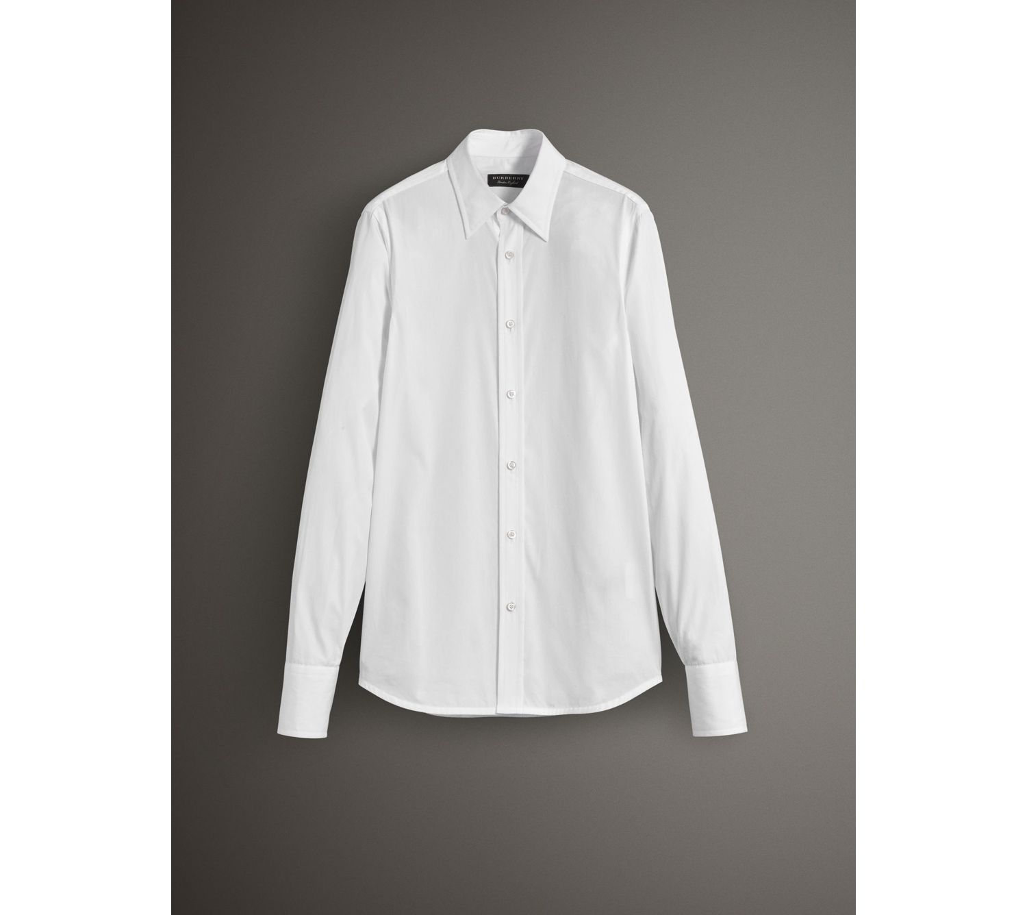 Worsted Cotton Poplin Evening Shirt in White